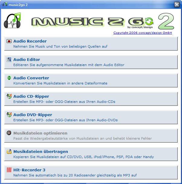 Screenshot vom Programm: music 2 go